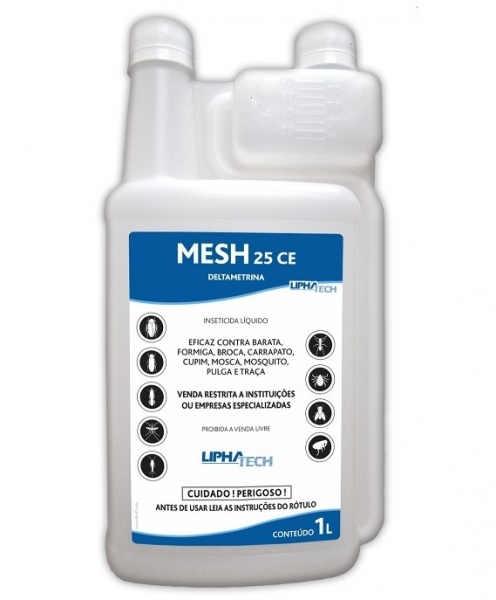 O Mesh 25CE - Deltametrina 2,5% é um inseticida piretróide com ação de choque e redisual, eficaz para o controle de insetos e ácaros.